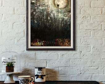 Moon Art - Giclée Art print - Through The Moon - Ladder To The Moon Painting- 11x14 print