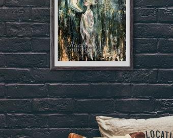 Giclée Art print - 11x14 Fine Art Print - Lunar Priestess - Hand Enhanced Giclée print