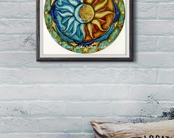 Sun And Moon Art - Mixed Media Mandala - Sun and Moon Mandala - Large Glicee Print