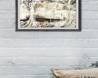 Mixed Media Painting - Tree Painting - Cardinal in Winter - Large Painting