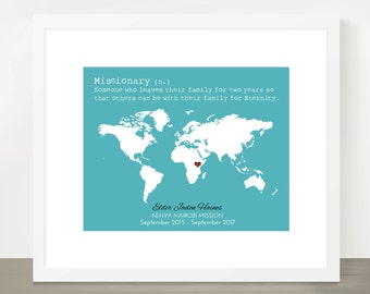 LDS Missionary Map, Mission, Mormon, Missionary Homecoming, Farewell, Mission call, Mission Flag, 8x10, 11x14, 16x20, Missionary Gift