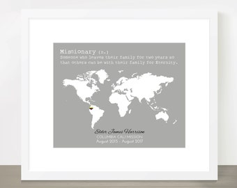 LDS Missionary Map, Mission, Mormon, MIssionary Homecoming, Farewell, MIssion call, Mission Flag, Flag, 8x10, 11x14, 16x20, MIssionary Gift