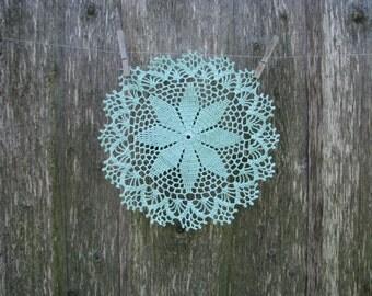 Crochet doily Doilies Set  Mint Color doily Christmas flower Motive Natural Lithuanian Linen  Lace Table Lace Christmas Decoration