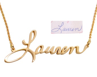 Handwriting Jewelry - 14K Gold Custom Name Necklace - Handwritten Cursive Name Necklace - Custom Handwriting - Actual Handwriting Jewelry