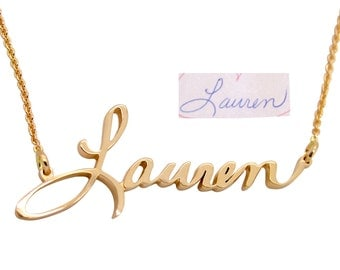 Handwriting Jewelry - Custom Handwriting 14K Gold Custom Name Necklace - Handwritten Cursive Name Necklace - Actual Handwriting Jewelry