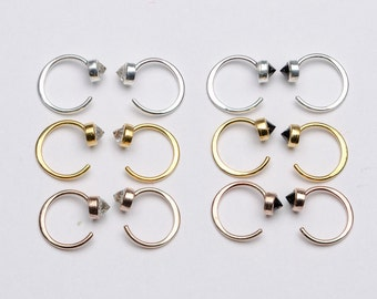 Tiny White Topaz Hug Hoops, Sterling Silver & Gold Plated, Gemstone Hug Earrings, Open Hoops, Minimalist Jewelry, Hand Made, Gift, EA030