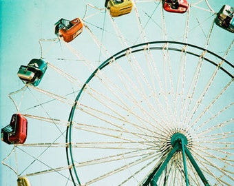 Carnival Photo - Ferris Wheel, Fine Art Photography, print, state fair,  carnival photo, circus, nursery decor, circus art photo, teal, aqua
