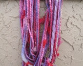 Handspun art yarn DR. SEUSS'S Bubble Gum 36 yards free U.S. shipping pink purple magenta red