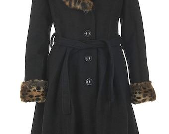 Brand New Vintage Style Black Ashley Fur Trim Swing Coat - Stunning!