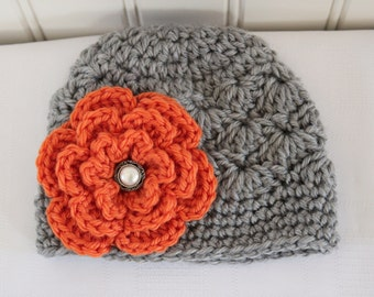 Baby Hat - Crochet Hat - Girls Hat - Toddler Hat - Newborn Hat - Fall Hat - Light Gray (Grey) with Orange Flower - sizes Newborn to 3 Years
