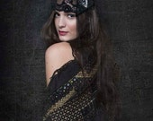 Black Lace & Silver Gatsby Headdress - ARRIANNE