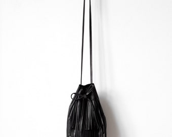 Black Bucket bag with fringe, shoulder bag cross-body bag, leather drawstring bag No.Tf- 1003