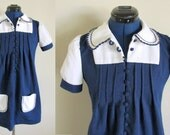 SALE: Blue & White Dress with Embroidery and Buttons, Small