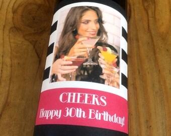 Custom Birthday Wine Labels, Photo Wine Label, Birthday Label, Birthday Gift, Personalized, Label, Favor, Gift, Birthday Card, Birthday Wine