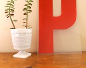 P is for Pink.. Vintage Red Marquee Letter P, Wall Hanging