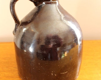Vintage Decor... Brown Clay Crock Jug