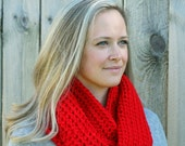 Cool Weather Infinity Scarf in Red