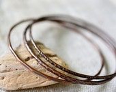 Copper bangle bracelets - stacking copper bangles - hammered copper bracelets - set of three - copper anniversary gift - by Alery