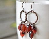 Agate earrings - copper chandelier earrings - natural brown earrings - copper anniversary gift - artisan jewelry by Alery