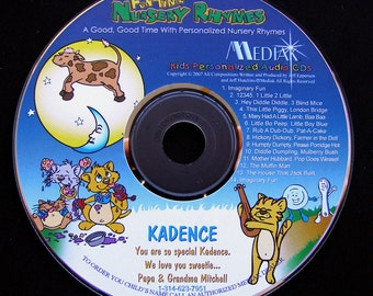 Personalized Nursery Rhymes- Your child will LOVE hearing these nursery rhymes with their names throughout this fun CD