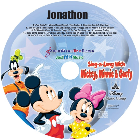 Mickey, Minnie and Goofy Personalized CD - Hear the real voices of the characters sing your child's name over 80 times!