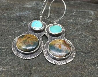 Fancy Jasper and Turquoise Earrings, Handmade, Sterling Silver, Sky Blue, Southwestern Style, Great with Jeans, Casual Earrings