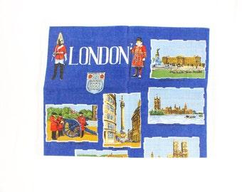 Vintage London Towel - Beefeater / Yoeman Warders w/ City Landmarks - Blue, Red, Black - Novelty Souvenir Dish/Tea Towel on Irish Linen MWOT
