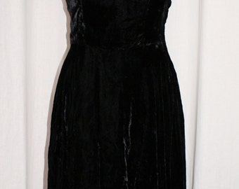 Vintage 1940s rich black velvet swing full dress size S Viva rockabilly