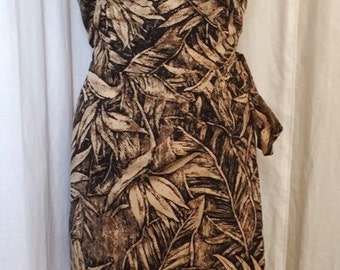Vintage 1950s inspired black brown leaf print Hawaiian sarong halter wiggle dress M and XL only larger size VLV rockabilly Viva