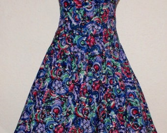 Vintage 1950s bombshell halter full sweep dress by Tabak of California Hawaiian S M Rockabilly Viva