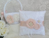 Flower Girl Basket/Ring Bearer Pillow Set, Pale/Blush Pink Ring Bearer Pillow, Lace Flower Basket/Pillow,Wedding Accessory,YOUR CHOICE COLOR
