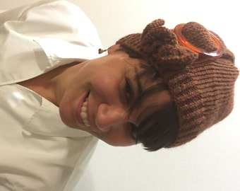 Buckled Cloche Hand Knit Hat in Heathered Pumpkin