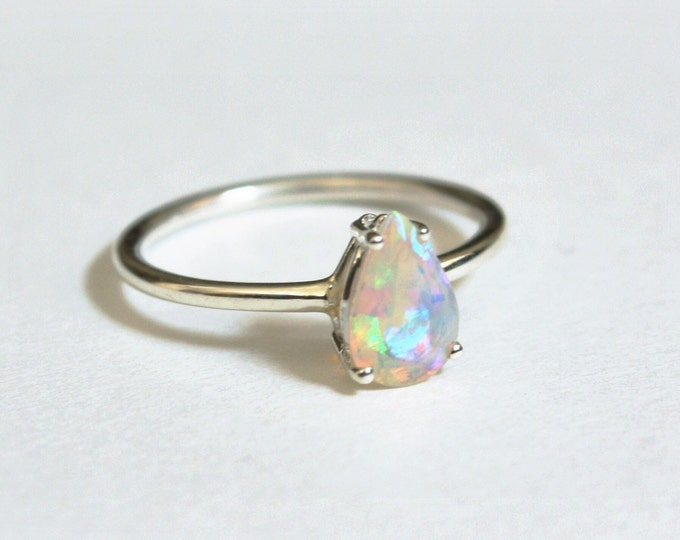 Pear Faceted Ethiopian Opal Ring - sterling silver opal ring - faceted welo opal ring - opal engagement ring - october birthstone ring