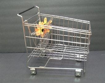 Metal Grocery Basket, Decorative Metal Grocery Basket with Wheels, Home and Living, Metal Flower Basket or Fruit Basket,