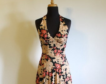 Gorgeous 1970's Fitted Halter Dress - Size US 4