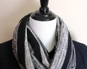 Black and Gray Striped Infinity Scarf