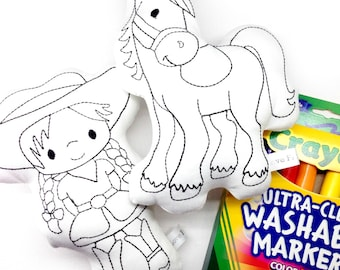 Colour In Toy Cowgirl and Horse with Washable Markers Craft Kit