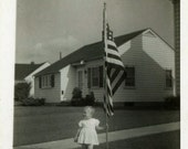 "Vintage Photo ""American Girl"" Patriotic US Flag Snapshot Photo Old Antique Black & White Photograph Found Paper Ephemera Vernacular - 24"