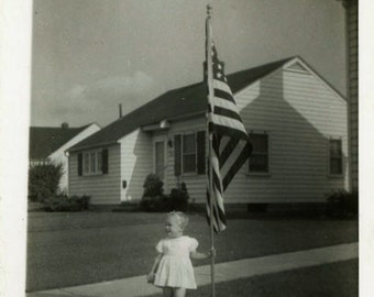 "Vintage Photo ""American Girl"" US Flag Snapshot Photo Old Antique Photo Black & White Photograph Found Photo Paper Ephemera Vernacular - 24"