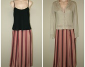 Vtg 80's CALVIN KLEIN 100% Silk Long Tea Length Striped Wrap Skirt size 4