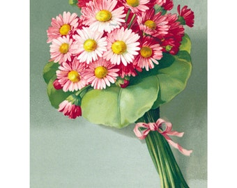 Flowers Greeting Card - Pink Daisies Bouquet - Thank You - Get Well - Birthday - Blank or Captions