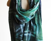 forest green plaid cotton shawl, transitional scarf, oversized wrap