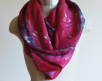 china red silk scarf, hand printed silk scarf, screen printed scarves, valentines day, botanical print