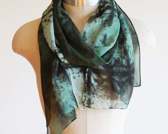 forest green silk chiffon scarf, screen printed and hand painted, ombre style