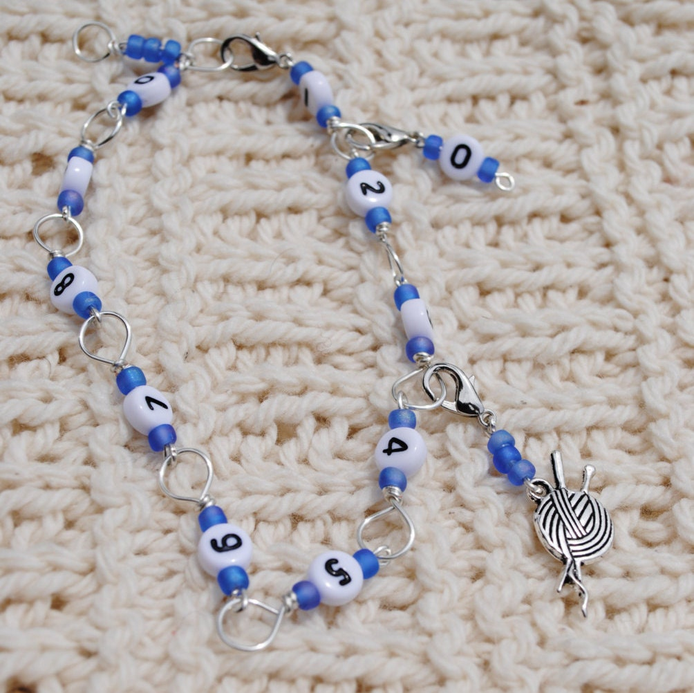Knitting Needle Row Counters : Knitting or Crochet Row Counter Bracelet in Silver and Blue