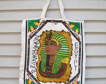 Vintage Pharaoh Tutankhamon /  King Tut Tote Bag With Egyptian Print