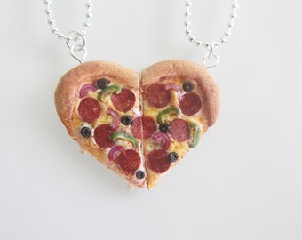 Best Friends Pizza Necklace - Food Jewelry - Miniature Pizza - Supreme Pizza - Heart Pizza - BFF