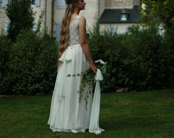 Cream,off white cotton lace, viscose bridal gown, boho wedding dress - made by your measurments, simple wedding dress