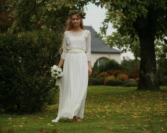 Off white lace and tulle bridal gown, simple boho wedding dress - made by your measurments