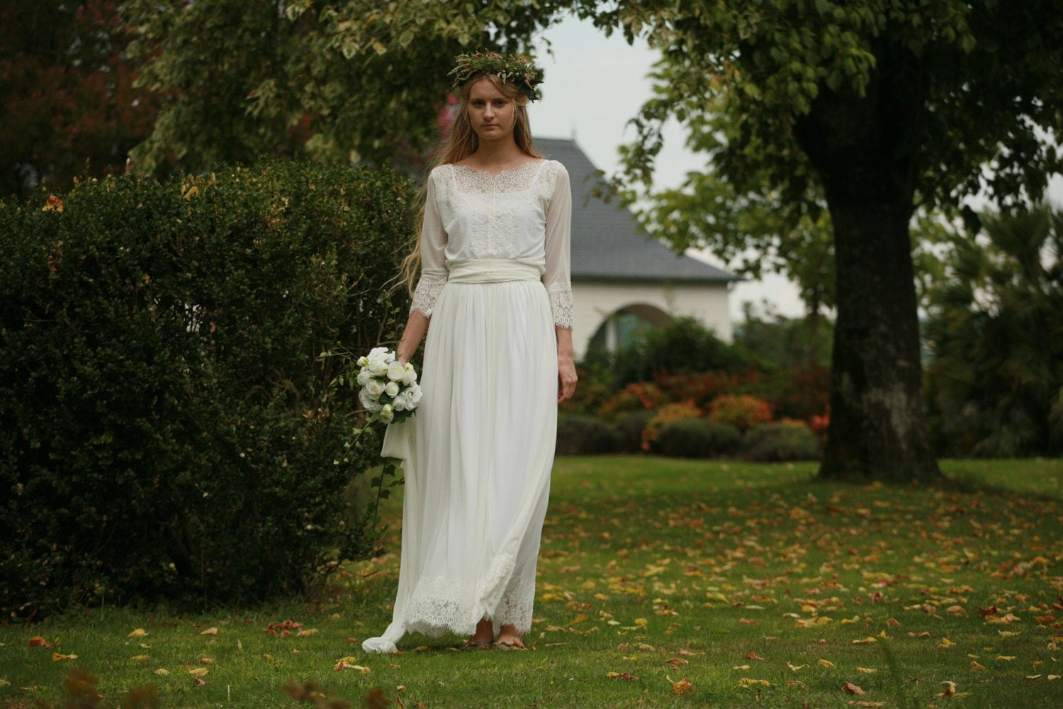 Simple Wedding Dresses With Lace Sleeves: Off White Lace And Tulle Bridal Gown Simple Boho Wedding